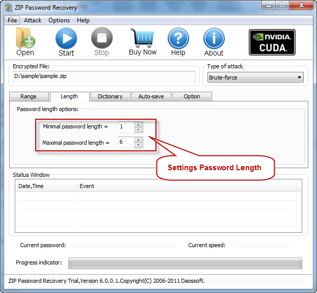 Password length settings on ZIP Password Recovery