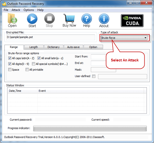 Select an Attack to recover Outlook password