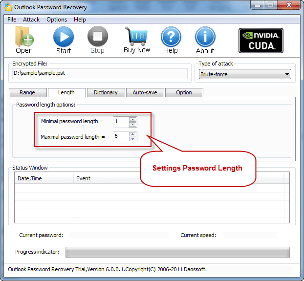 Password length settings with Outlook Password Recovery