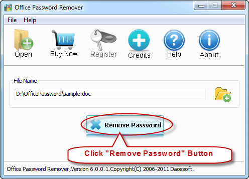Start remove excel password
