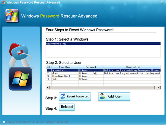 Click Your Target User Account From List And Reset Password Button To Its