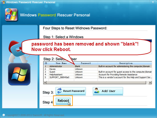how to change administrator password without login